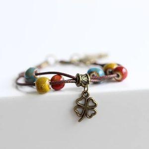 Jewelry - 🍀Handmade four leaf clover charm bracelet